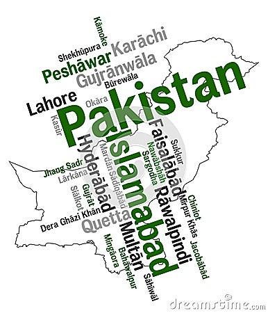 De kaart en de steden van Pakistan