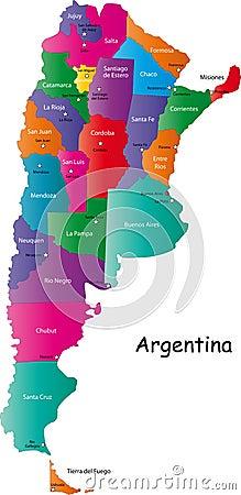 De kaart van Argentinië