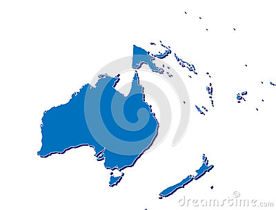 De kaart van Australië en van Oceanië in 3D