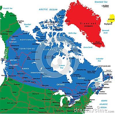 De kaart van Canada