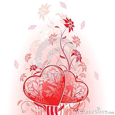 De Kaart van de Dag van valentijnskaarten met bloemen