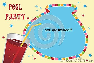 De kaart van de de partijuitnodiging van de pool
