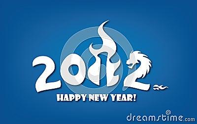 De kaart van de groet voor Nieuwe jaar 2012 viering
