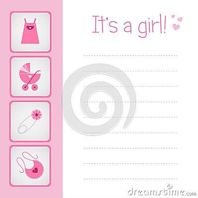 De kaart van de het meisjesaankomst van de baby