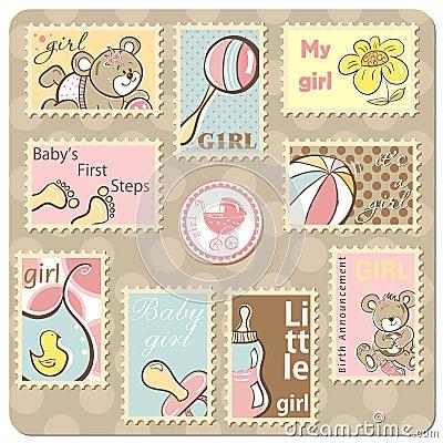De kaart van de het meisjesaankondiging van de baby