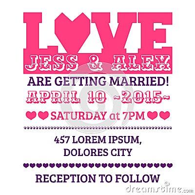 De Kaart van de huwelijksuitnodiging