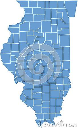 De kaart van de Staat van Illinois door provincies