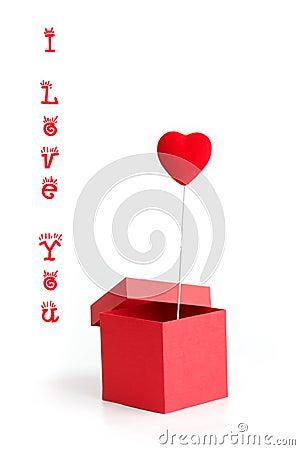 De kaart van de valentijnskaart met doos en hart