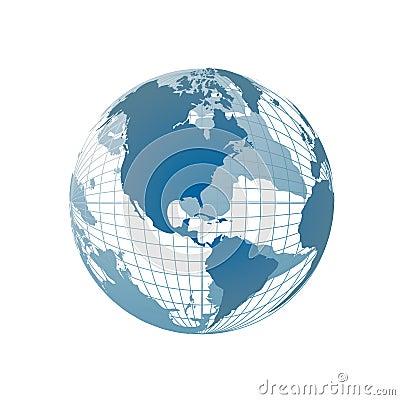 De kaart van de wereld, 3D bol