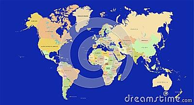 De kaart van de wereld in detail