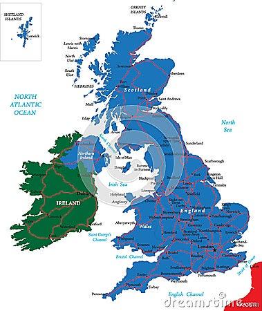 De kaart van het Verenigd Koninkrijk