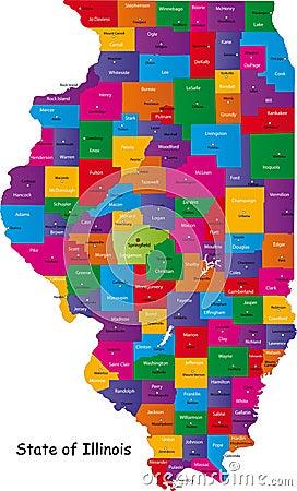 De kaart van Illinois