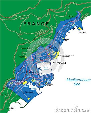 De kaart van Monaco
