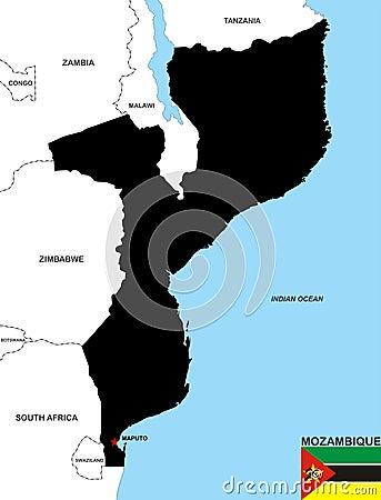 De kaart van Mozambique