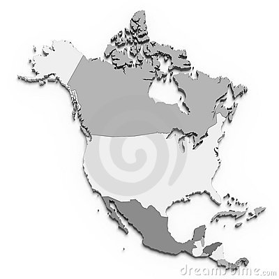 De kaart van Noord-Amerika