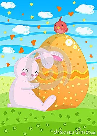 De Kaart van Pasen van het konijntje