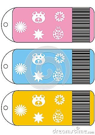 De kaartjes van de verkoop, etiketmarkeringen