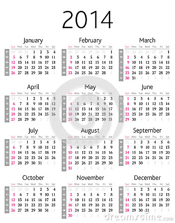 De kalender van 2014