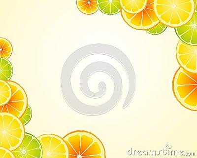 De kalk oranje frame van de citroen achtergrond