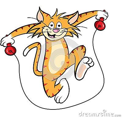 De kat van het beeldverhaal met touwtjespringen