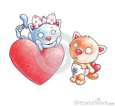 De katten zijn in liefde