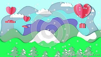 De kerstanimatie heeft sneeuw, een cadeaudoos met drijvende harten De achtergrond is een afbeelding van bomen, bergen en hemel stock videobeelden