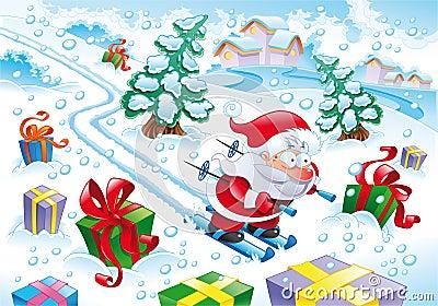 De Kerstman in de sneeuw