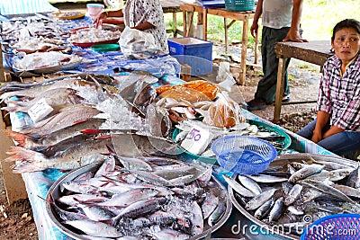 De keus van vissen op de lokale markt in LAK Khao Redactionele Afbeelding