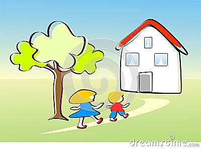 De kinderen gaan gelukkig naar huis stock afbeelding afbeelding 18083231 - Twee meisjes en een jongen ...
