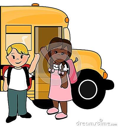 De kinderen van de school en bus