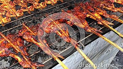 De kip van het vleespenbraadstuk in inheemse open markt van Thailand De kippenlichaam van de houtskoolgrill op een voedsel van de stock footage