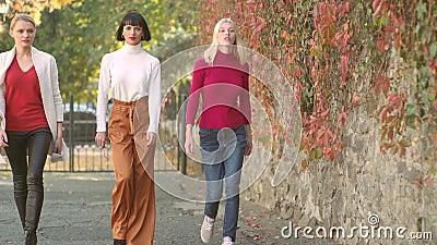 De kleding van de de herfstmanier Mooie meisjes die met de Herfststemming lopen Autumn Girl De herfstportret van mooie studenten  stock footage