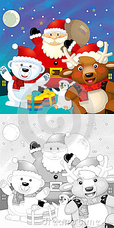De kleurende Kerstmispagina met kleurrijke voorproef