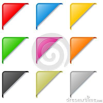 De kleurrijke Geplaatste Etiketten van de Hoek