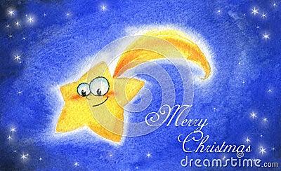 De komeet van Kerstmis - waterverf