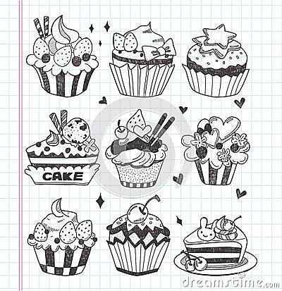 De krabbel cupcake plaatste