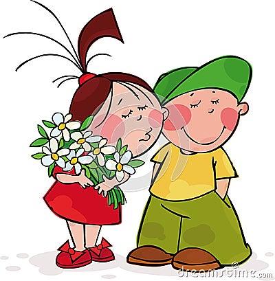 De kus van de valentijnskaart