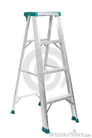 De ladder van de stap die op witte achtergrond wordt geïsoleerde