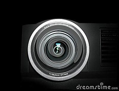 De lens van de projector - sluit omhoog