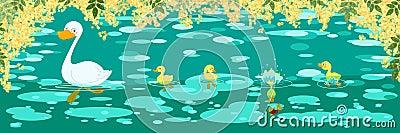 De lentebanner van eenden