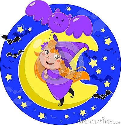 De leuke heks die van Halloween met knuppelballon vliegt