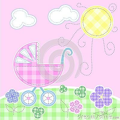 De leuke kaart van de babygroet