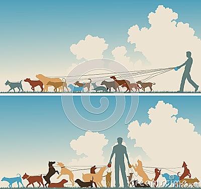 De leurder van de hond