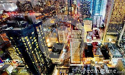 De lichten van de de stadsnacht van New York