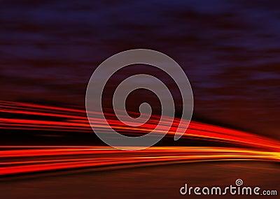 De lichten van de staart bij nacht