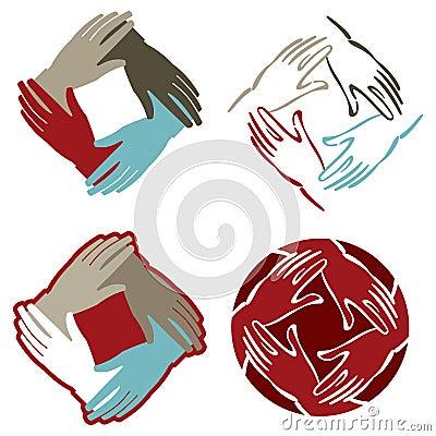 De mains logo ensemble