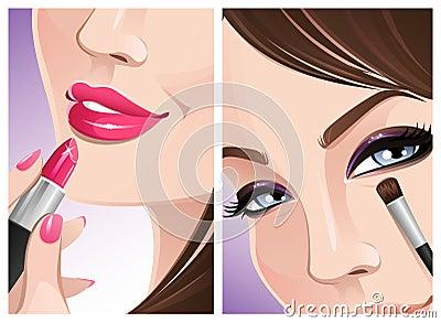 De make-up van de close-up