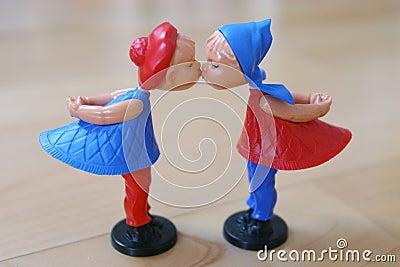 De marionettenpaar van de valentijnskaart