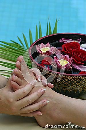 De massage van de voet