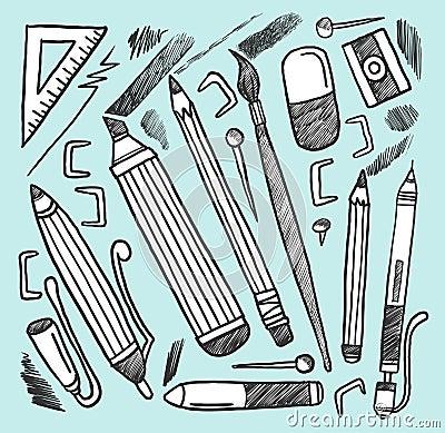 De materialen van de tekening